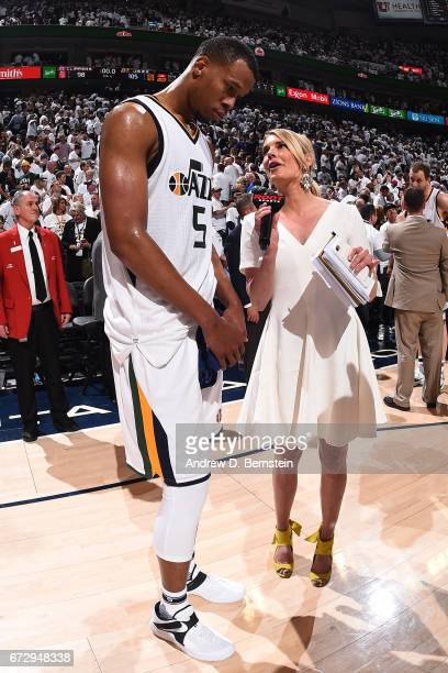 Rodney Hood of the Utah Jazz talks to the media after Game Four of the Western Conference Quarterfinals against the LA Clippers during the 2017 NBA...