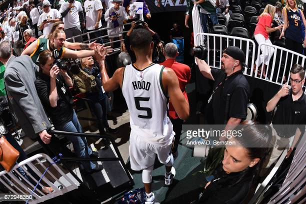 Rodney Hood of the Utah Jazz walks off the court after Game Four of the Western Conference Quarterfinals against the LA Clippers during the 2017 NBA...