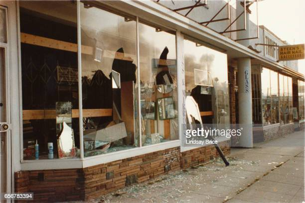 Rodney King Riot A view of looted glass and mirror shop on Pico Boulevard near Crescent Heights Boulevard after the Rodney King Riots showing broken...