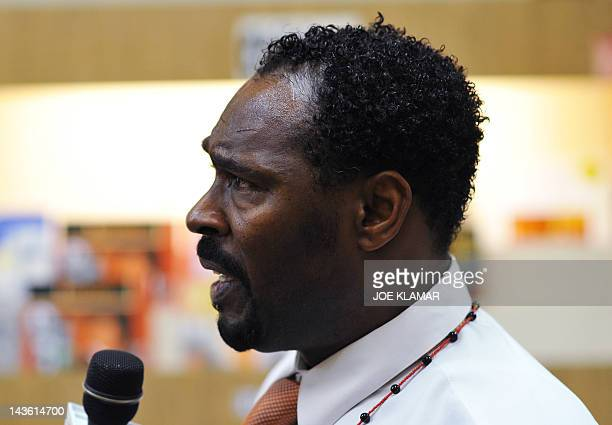Rodney King speaks during the presentation of his autobiographical book 'The Riot WithinMy Journey from Rebellion to Redemption' at the Eso Won Book...