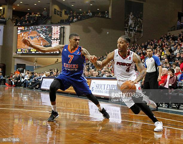 Rodney McGruder from the Sioux Falls Skyforce drives past Devondrick Walker from the Westchester Knicks at the Sanford Pentagon on January 29 2016 in...