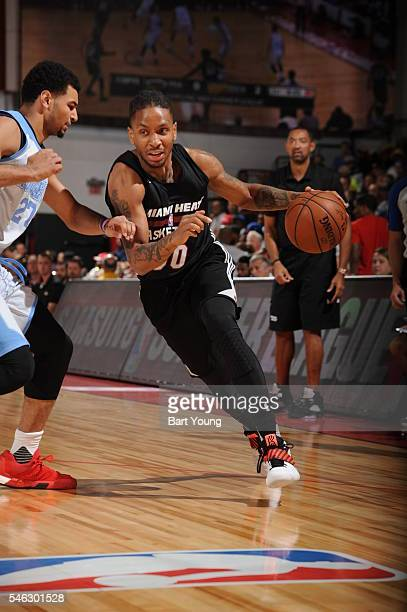 Rodney McGruder of Miami Heat drives to the basket against the Denver Nuggets during the 2016 Las Vegas Summer League on July 11 2016 at Cox Pavillon...