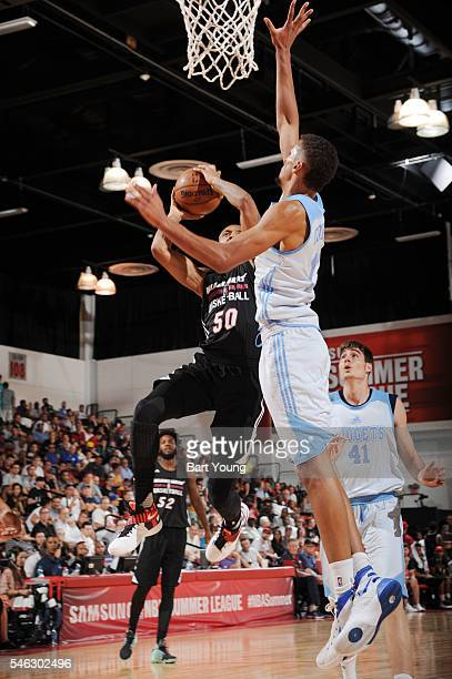 Rodney McGruder of Miami Heat shoots against the Denver Nuggets during the 2016 Las Vegas Summer League on July 11 2016 at Cox Pavillon in Las Vegas...