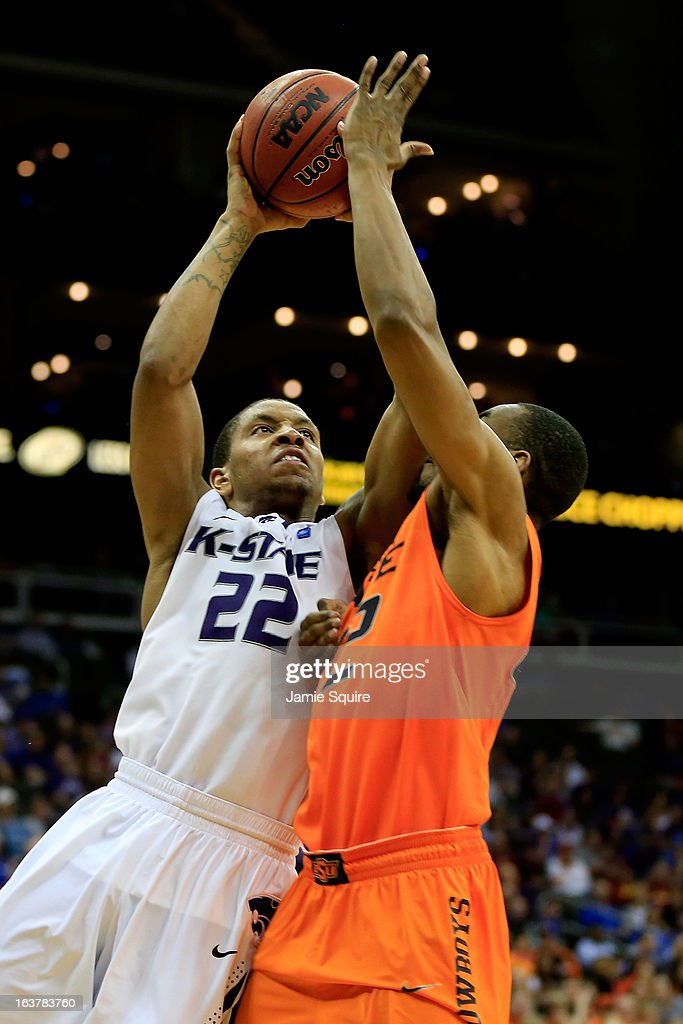Rodney McGruder #22 of the Kansas State Wildcats shoots against Markel Brown #22 of the Oklahoma State Cowboys in the second half during the Semifinals of the Big 12 basketball tournament at the Sprint Center on March 15, 2013 in Kansas City, Missouri.