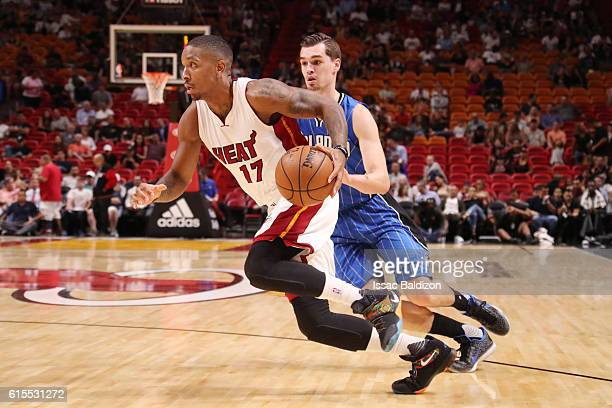 Rodney McGruder of the Miami Heat drives to the basket against the Orlando Magic on October 18 2016 at American Airlines Arena in Miami Florida NOTE...