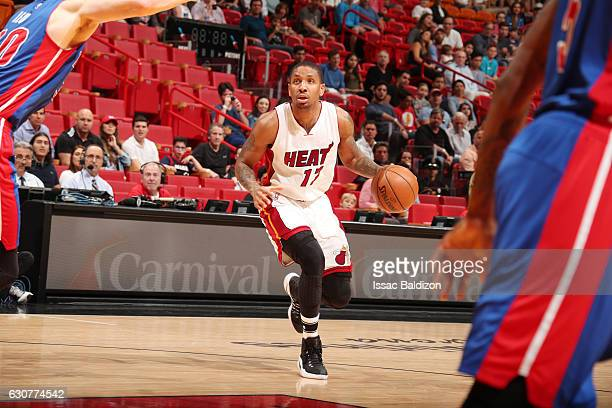 Rodney McGruder of the Miami Heat drives to the basket against the Detroit Pistons on January 1 2017 at American Airlines Arena in Miami Florida NOTE...