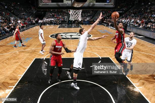 Rodney McGruder of the Miami Heat goes for a lay up against the Brooklyn Nets during the game on February 10 2017 at Barclays Center in Brooklyn New...