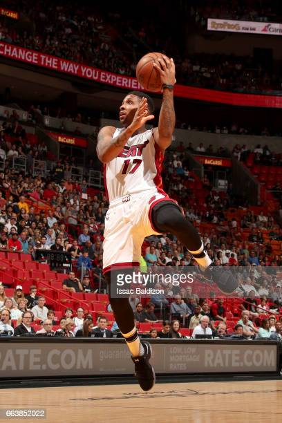 Rodney McGruder of the Miami Heat goes to the basket against the Denver Nuggets on April 2 2017 at American Airlines Arena in Miami Florida NOTE TO...