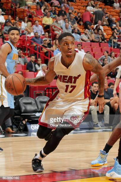 Rodney McGruder of the Miami Heat handles the ball against the Denver Nuggets on April 2 2017 at American Airlines Arena in Miami Florida NOTE TO...