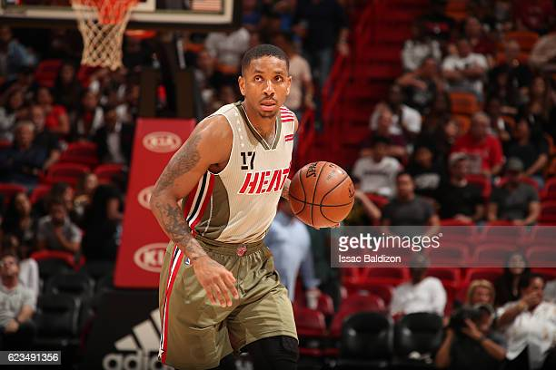 Rodney McGruder of the Miami Heat handles the ball against the Atlanta Hawks on November 15 2016 at American Airlines Arena in Miami Florida NOTE TO...