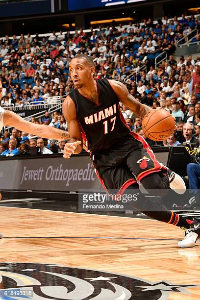 Rodney McGruder of the Miami Heat handles the ball against the Orlando Magic on October 26 2016 at Amway Center in Orlando Florida NOTE TO USER User...