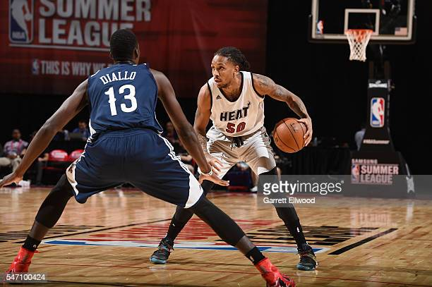 Rodney McGruder of the Miami Heat handles the ball against the New Orleans Pelicans during the 2016 NBA Las Vegas Summer League game on July 13 2016...