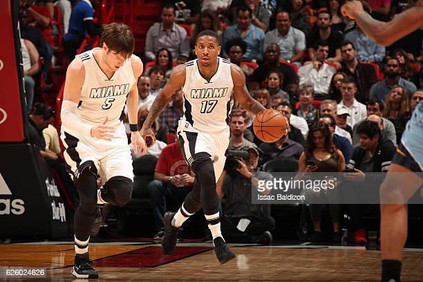 Rodney McGruder of the Miami Heat handles the ball against the Memphis Grizzlies on November 26 2016 at American Airlines Arena in Miami Florida NOTE...