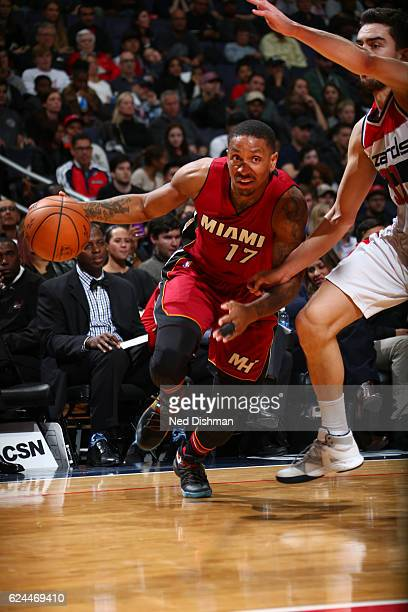 Rodney McGruder of the Miami Heat handles the ball during a game against the Washington Wizards on November 19 2016 at the Verizon Center in...
