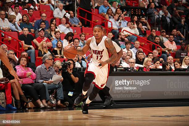 Rodney McGruder of the Miami Heat handles the ball during a game against the Boston Celtics on November 28 2016 at American Airlines Arena in Miami...
