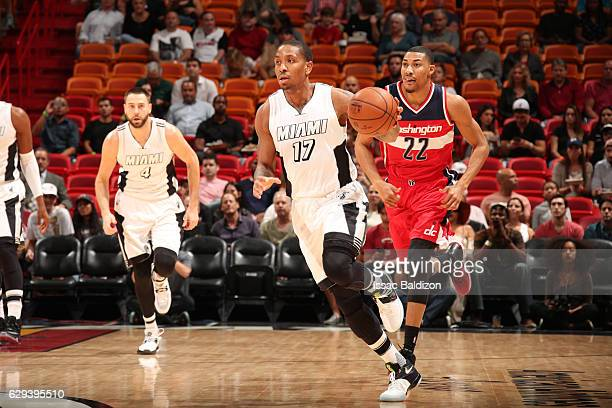 Rodney McGruder of the Miami Heat handles the ball during a game against the Washington Wizards on December 12 2016 at American Airlines Arena in...