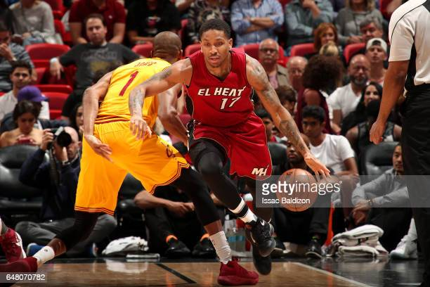 Rodney McGruder of the Miami Heat handles the ball during the game against the Cleveland Cavaliers on March 4 2017 at AmericanAirlines Arena in Miami...