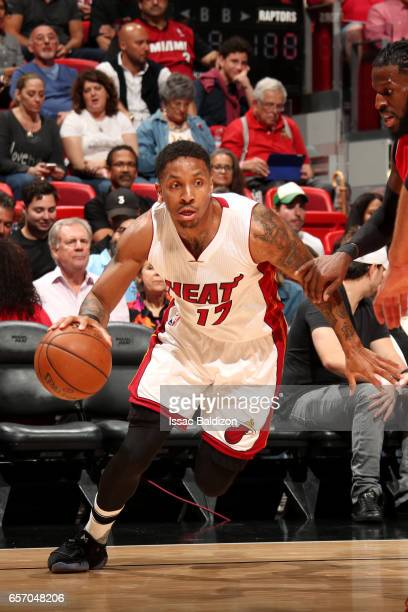 Rodney McGruder of the Miami Heat handles the ball during the game against the Toronto Raptors on March 23 2017 at AmericanAirlines Arena in Miami...