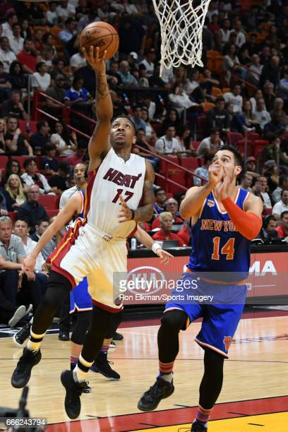 Rodney McGruder of the Miami Heat in action during a NBA game against the New York Knicks on March 31 2017 at AmericanAirlines Arena in Miami Florida...