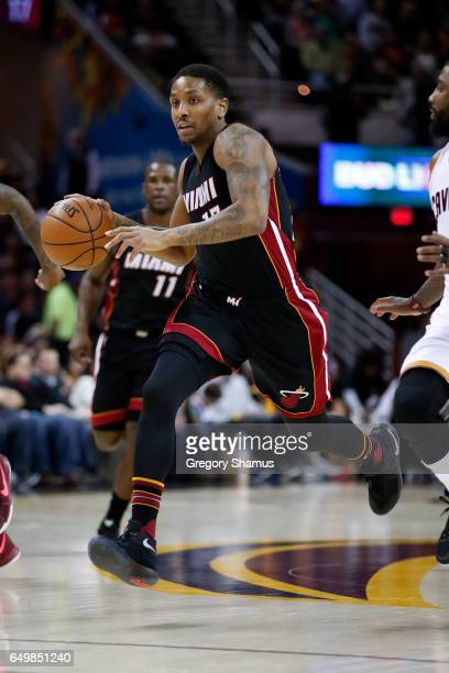 Rodney McGruder of the Miami Heat plays against the Cleveland Cavaliers at Quicken Loans Arena on March 6 2017 in Cleveland Ohio Miami won the game...