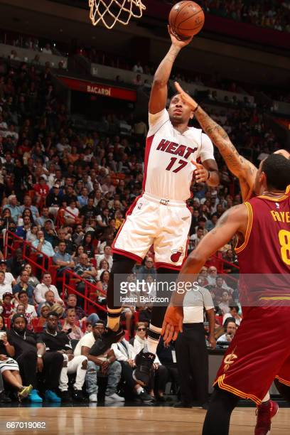 Rodney McGruder of the Miami Heat shoots the ball against the Cleveland Cavaliers on April 10 2017 at AmericanAirlines Arena in Miami Florida NOTE TO...