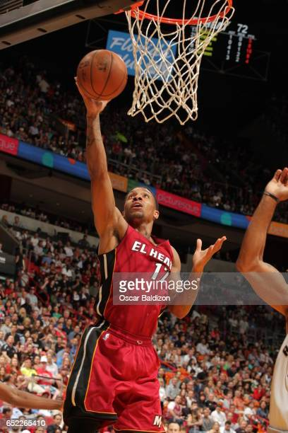 Rodney McGruder of the Miami Heat shoots the ball against the Toronto Raptors on March 11 2017 at AmericanAirlines Arena in Miami Florida NOTE TO...