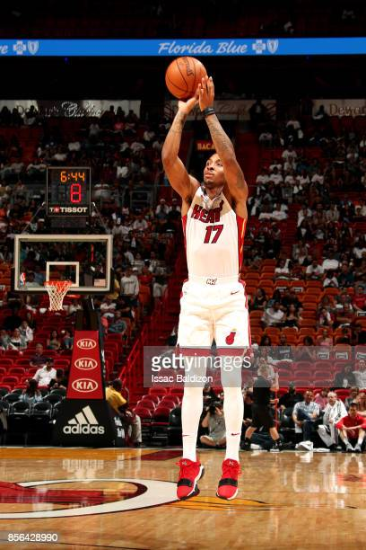 Rodney McGruder of the Miami Heat shoots the ball during the preseason game against the Miami Heat on October 1 2017 at American Airlines Arena in...