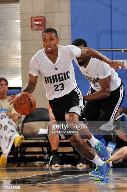 Rodney McGruder of the Orlando Magic drives upcourt against the Boston Celtics during the 2013 Southwest Airlines Orlando Pro Summer League on July...