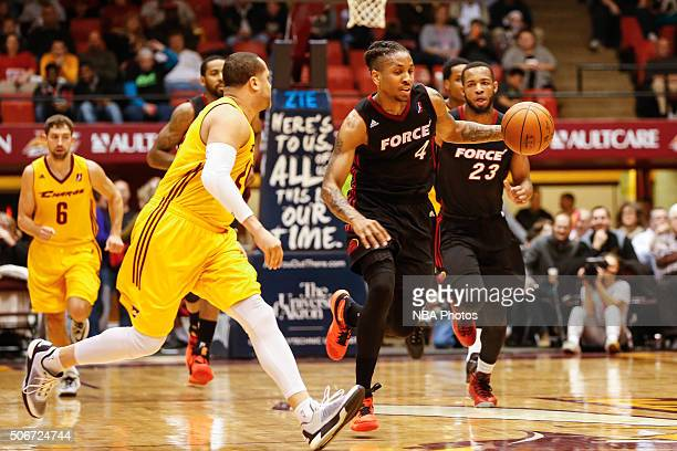 Rodney McGruder of the Sioux Falls Skyforce dribbles the ball against the Canton Charge at Canton Memorial Civic Center on January 23 2016 in Canton...