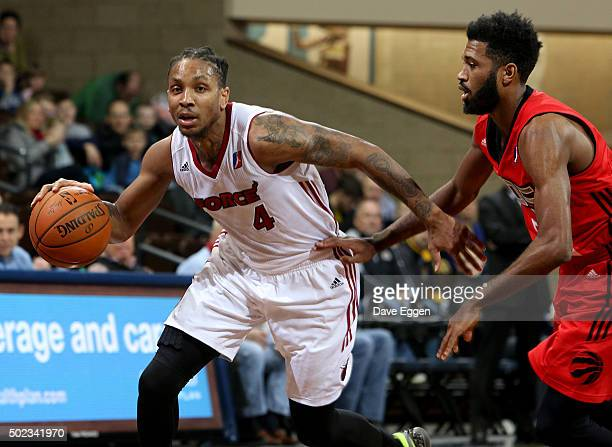Rodney McGruder of the Sioux Falls Skyforce drives to the basket against the Raptors 905 at the Sanford Pentagon December 22 2015 in Sioux Falls...