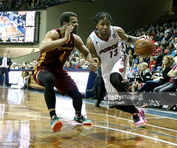 Rodney McGruder of the Sioux Falls Skyforce handles the ball against Chris Crawford of the Canton Charge in game two of the NBA DLeague playoff game...