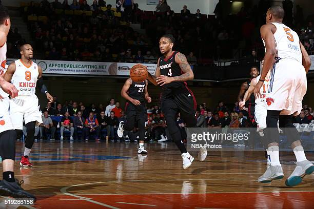Rodney McGruder of the Sioux Falls Skyforce handles the ball against the Westchester Knicks during Game One of the 2016 NBA DLeague Eastern...