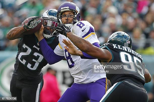 Rodney McLeod of the Philadelphia Eagles forces the fumble on Sam Bradford of the Minnesota Vikings as Mychal Kendricks of the Philadelphia Eagles...