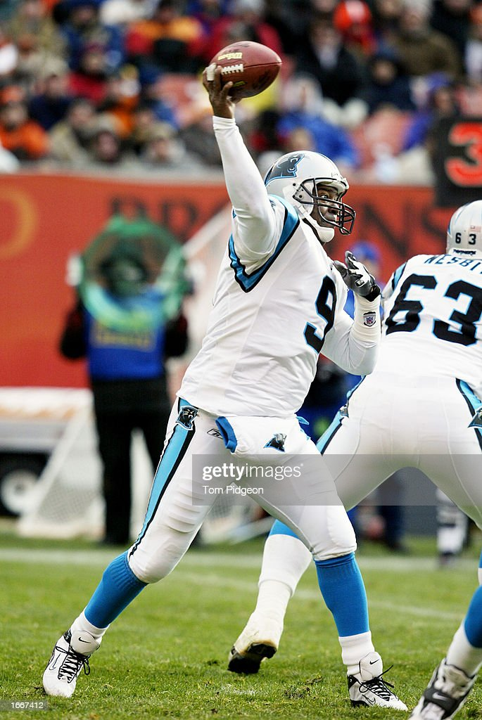Rodney Peete #9 of the Carolina Panthers throws a pass against the Cleveland Browns on December 1, 2002 at Browns Stadium in Cleveland, Ohio. Carolina won the game 13-6.