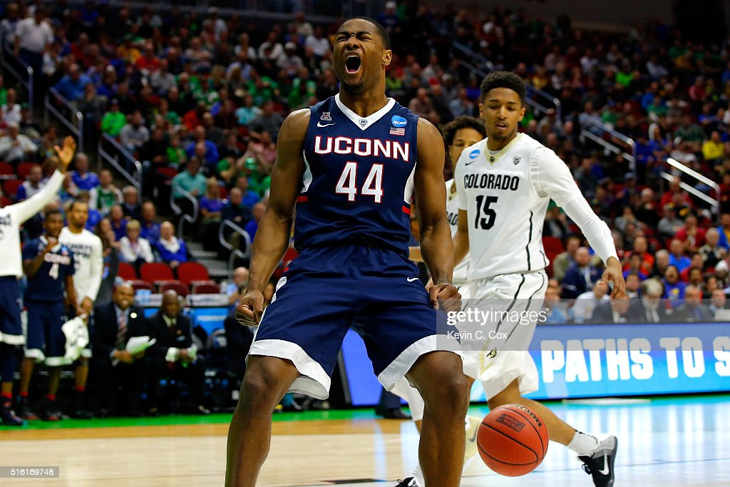 Rodney Purvis of the Connecticut Huskies reacts after a basket in the second half against the Colorado Buffaloes during the first round of the 2016...