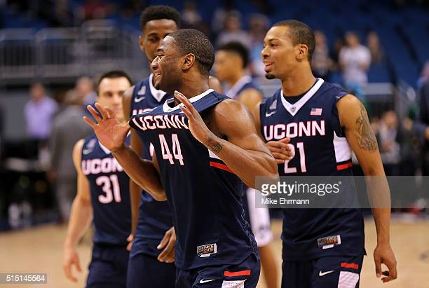 Rodney Purvis of the Connecticut Huskies reacts to winning a semifinal game of the 2016 AAC Basketball Tournament against against thethe Temple Owls...