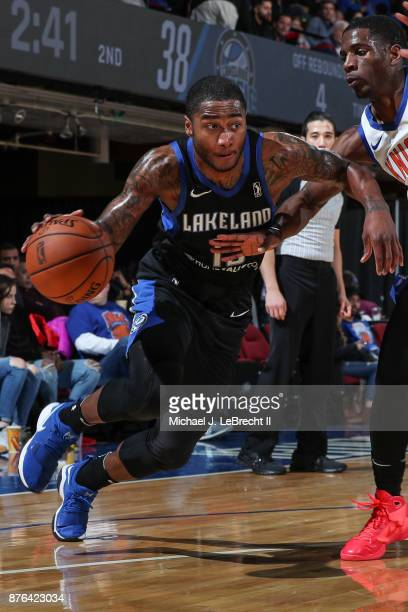 Rodney Purvis of the Lakeland Magic Drives to the basket against the Westchester Knicks during an NBA GLeague game on November 19 2017 at Westchester...