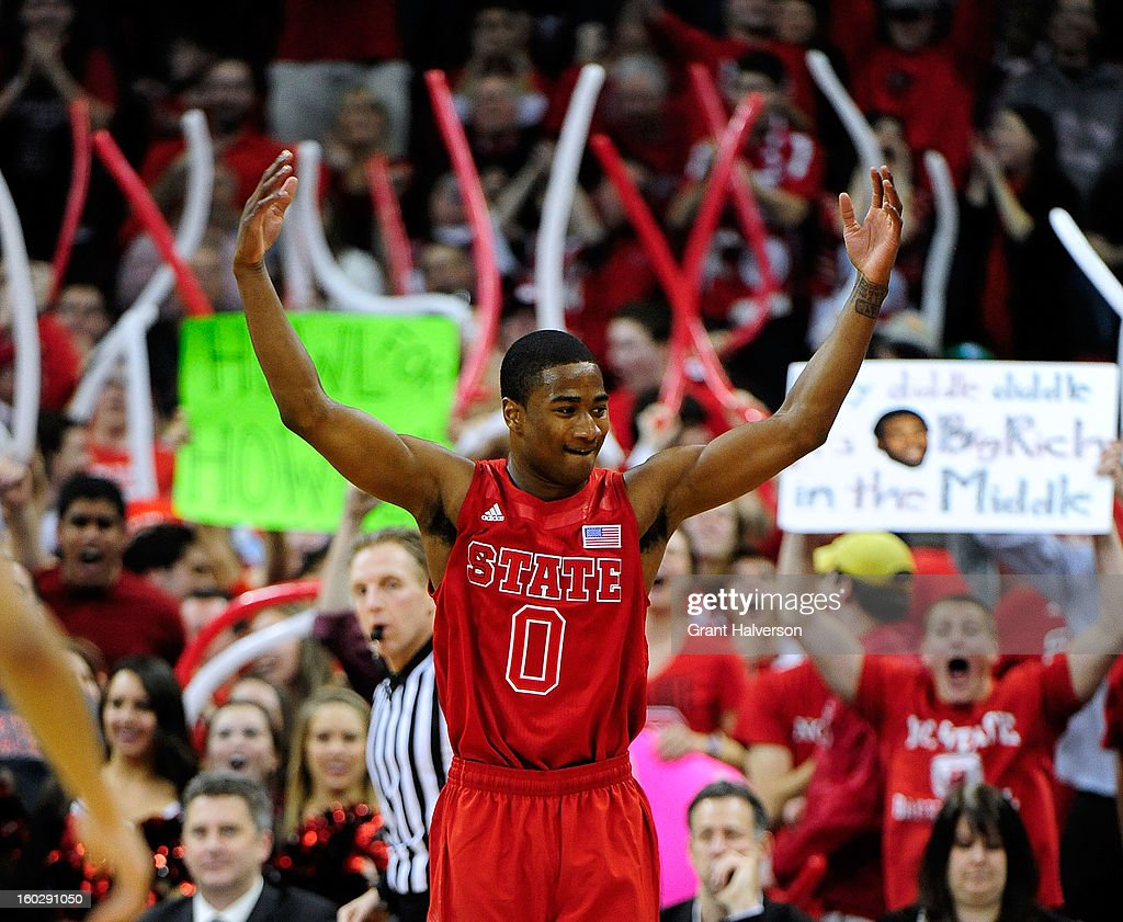 Rodney Purvis #0 of the North Carolina State Wolfpack encourages the crowd to get loud during a game against the North Carolina Tar Heels at PNC Arena on January 26, 2013 in Raleigh, North Carolina.