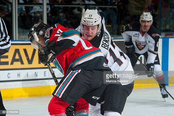 Rodney Southam of the Kelowna Rockets checks Tyler Benson of the Vancouver Giants after the face off in second period on November 18 2016 at Prospera...