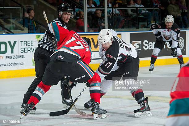 Rodney Southam of the Kelowna Rockets faces off in second period against Tyler Benson of the Vancouver Giants on November 18 2016 at Prospera Place...