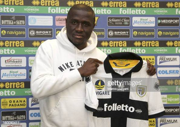 Rodney Strasser is presented as a new signing to Parma FC during a press conference at the club's training ground on January 26 2013 in Collecchio...