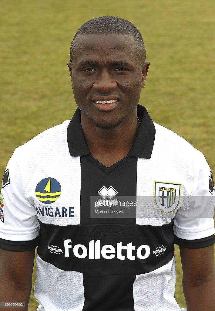 Rodney Strasser of Parma FC poses with the club shirt during new signings official portraits at the club's training ground on February 5, 2013 in Collecchio, Italy.
