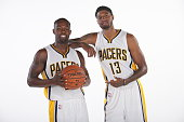 Rodney Stuckey and Paul George of the Indiana Pacers during the Pacers media day at Bankers Life Fieldhouse on September 29 2014 in Indianapolis...