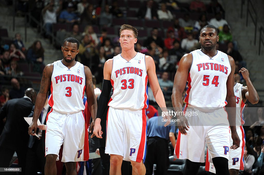 Rodney Stuckey #3, Jonas Jerebko #33 and Jason Maxiell #54 of the Detroit Pistons walk on court during the game between the Detroit Pistons and the Toronto Raptors on March 29, 2013 at The Palace of Auburn Hills in Auburn Hills, Michigan.