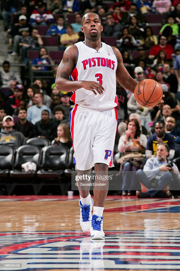 <a gi-track='captionPersonalityLinkClicked' href=/galleries/search?phrase=Rodney+Stuckey&family=editorial&specificpeople=4375687 ng-click='$event.stopPropagation()'>Rodney Stuckey</a> #3 of the Detroit Pistons advances the ball against the Chicago Bulls on April 7, 2013 at The Palace of Auburn Hills in Auburn Hills, Michigan.