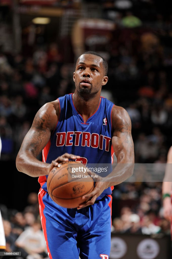 <a gi-track='captionPersonalityLinkClicked' href=/galleries/search?phrase=Rodney+Stuckey&family=editorial&specificpeople=4375687 ng-click='$event.stopPropagation()'>Rodney Stuckey</a> #3 of the Detroit Pistons attempts a foul shot against the Cleveland Cavaliers at The Quicken Loans Arena on April 10, 2013 in Cleveland, Ohio.