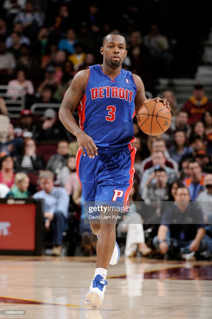 <a gi-track='captionPersonalityLinkClicked' href=/galleries/search?phrase=Rodney+Stuckey&family=editorial&specificpeople=4375687 ng-click='$event.stopPropagation()'>Rodney Stuckey</a> #3 of the Detroit Pistons brings the ball up court against the Cleveland Cavaliers at The Quicken Loans Arena on April 10, 2013 in Cleveland, Ohio.