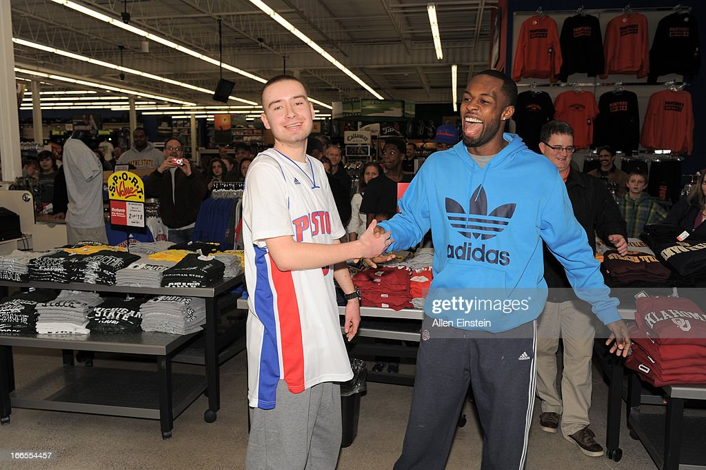 Rodney Stuckey, of the Detroit Pistons, celebrates the victory after a game of 'PIG' on April 13, 2013 at Dunhams sporting goods in Warren, Michigan.