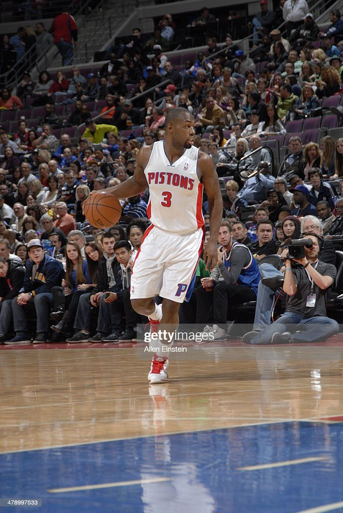 <a gi-track='captionPersonalityLinkClicked' href=/galleries/search?phrase=Rodney+Stuckey&family=editorial&specificpeople=4375687 ng-click='$event.stopPropagation()'>Rodney Stuckey</a> #3 of the Detroit Pistons dribbles up the court against the Indiana Pacers during the game on March 15, 2014 at The Palace of Auburn Hills in Auburn Hills, Michigan.