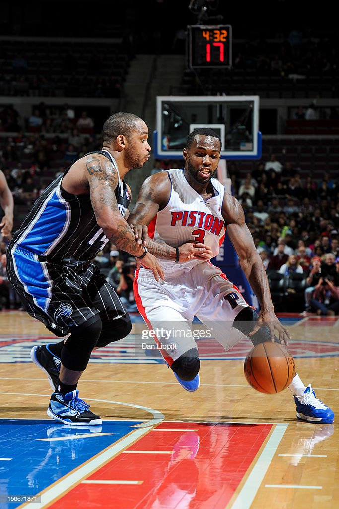Rodney Stuckey #3 of the Detroit Pistons drives against Jameer Nelson #14 of the Orlando Magic on November 16, 2012 at The Palace of Auburn Hills in Auburn Hills, Michigan.